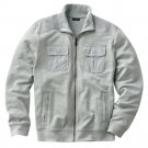 Apt 9 Slubbed Track Athletic Jacket Mens Zip Front Jacket Sz XXL or 2XL Light Gray $70 NEW