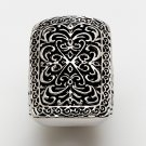 Silver Tone Large Design Black Filigree Ring Sz. 8 $22 NEW
