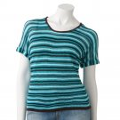 NEW Say What Juniors Blue Brown L or Large Striped Open-Stitch Top by Say What $36.00