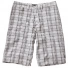 Mens Vans Plaid Flat Front Shorts Size 32 White NEW $44.00