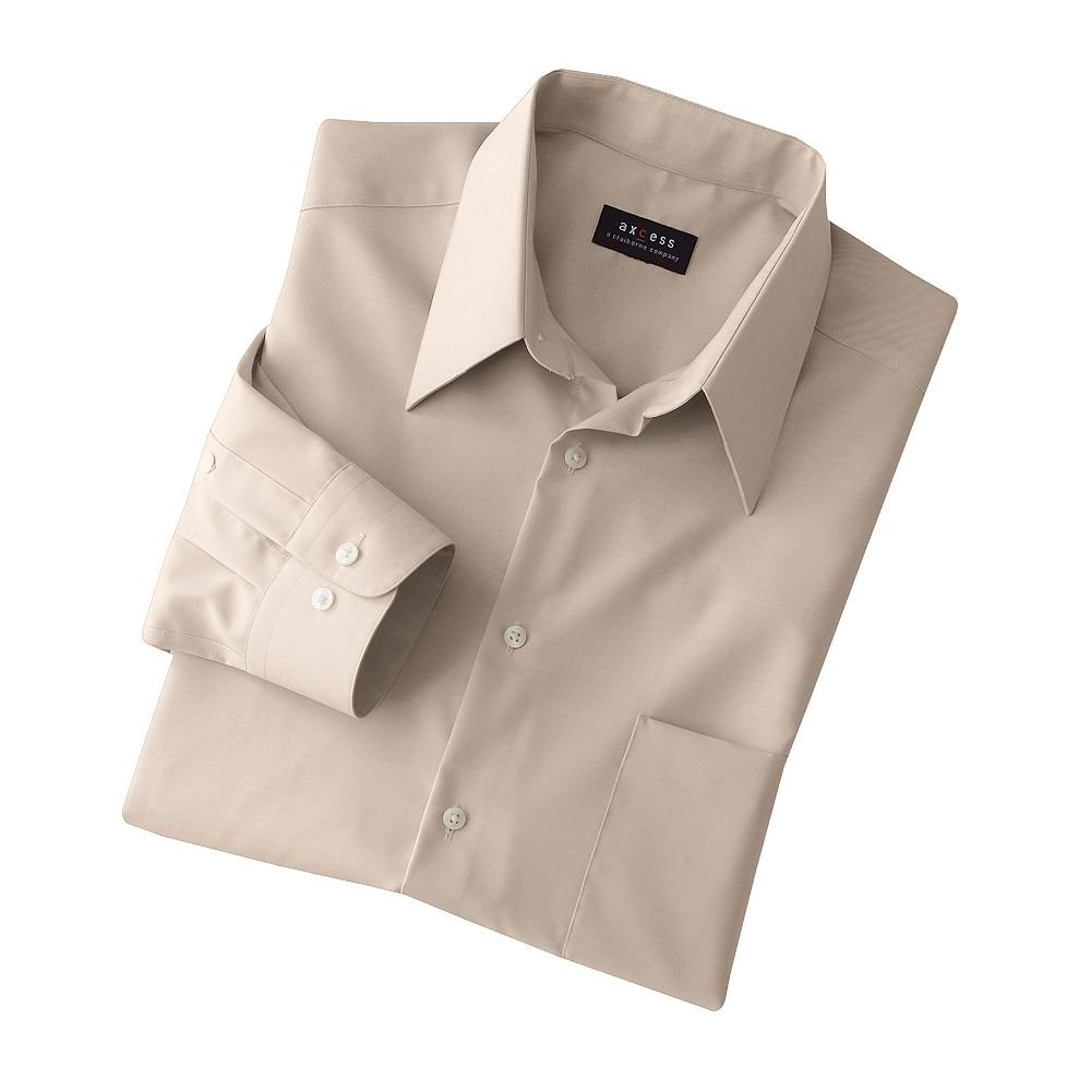 Axcess Solid Dress Shirt Mens Dress Shirt Tan Wrinkle Free 17 NEW