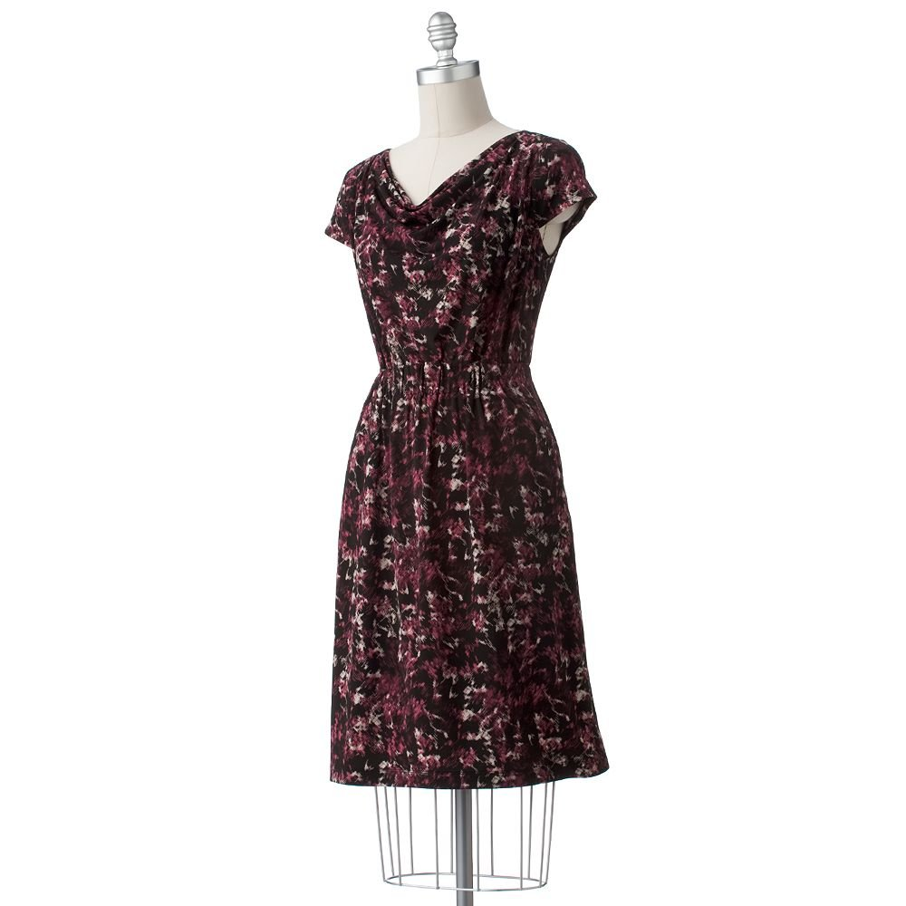 Womens Cowlneck Short Sleeve Dress Maroon Multi by Axcess Sz L NEW