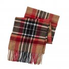 Mens Boxed Woven Scarf Gift Set by Van Heusen Tan Plaid Print NEW