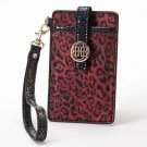 NEW Dana Buchman Red Black Leopard Faux Leather Embossed Snap Close Phone Case $40 Super Cute