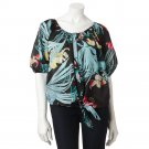 Jennifer Lopez Womens Medium Leaf Dolman Top Shirt Blouse Printed Tie Front $44.00 NEW