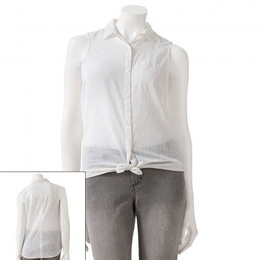 SO Juniors Sz. Small White Tie-Front Top Shirt Blouse $30 NEW