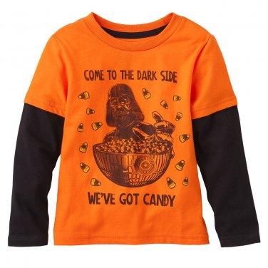 NEW 3T Orange Star Wars Candy Corn Mock-Layer Tee Shirt Toddler $16