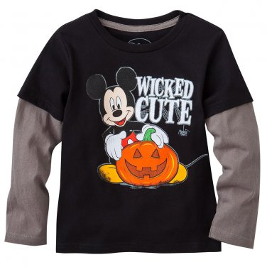 NEW 3T Black Disney Mickey Mouse Wicked Cute Mock-Layer Tee Top Toddler $16