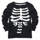 NEW 3T Carter's Skeleton Graphic Halloween Tee - Toddler Top Black $16