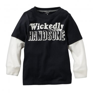 NEW 3T Carter's Glow-in-the-Dark Mock-Layer Handsome Hallowen Tee - Toddler Top Black $16