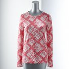 Vera Wang Womens Breast Cancer Awareness PLAID TEE T-Shirt Small S Long Sleeves NEW