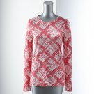 Vera Wang Womens Breast Cancer Awareness PLAID TEE T-Shirt Medium M Long Sleeves NEW