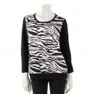 Cathy Daniels Womens Medium Black & White Zebra Sweater NEW $50