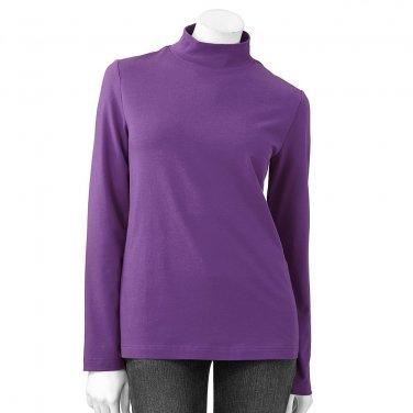 Croft Barrow Womens Small LS Medium Purple Mockneck Essential Tee or Top NEW $18