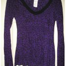 NEW Elle Extra Small XS Babydoll Style V-Neck Top Purple Black $34
