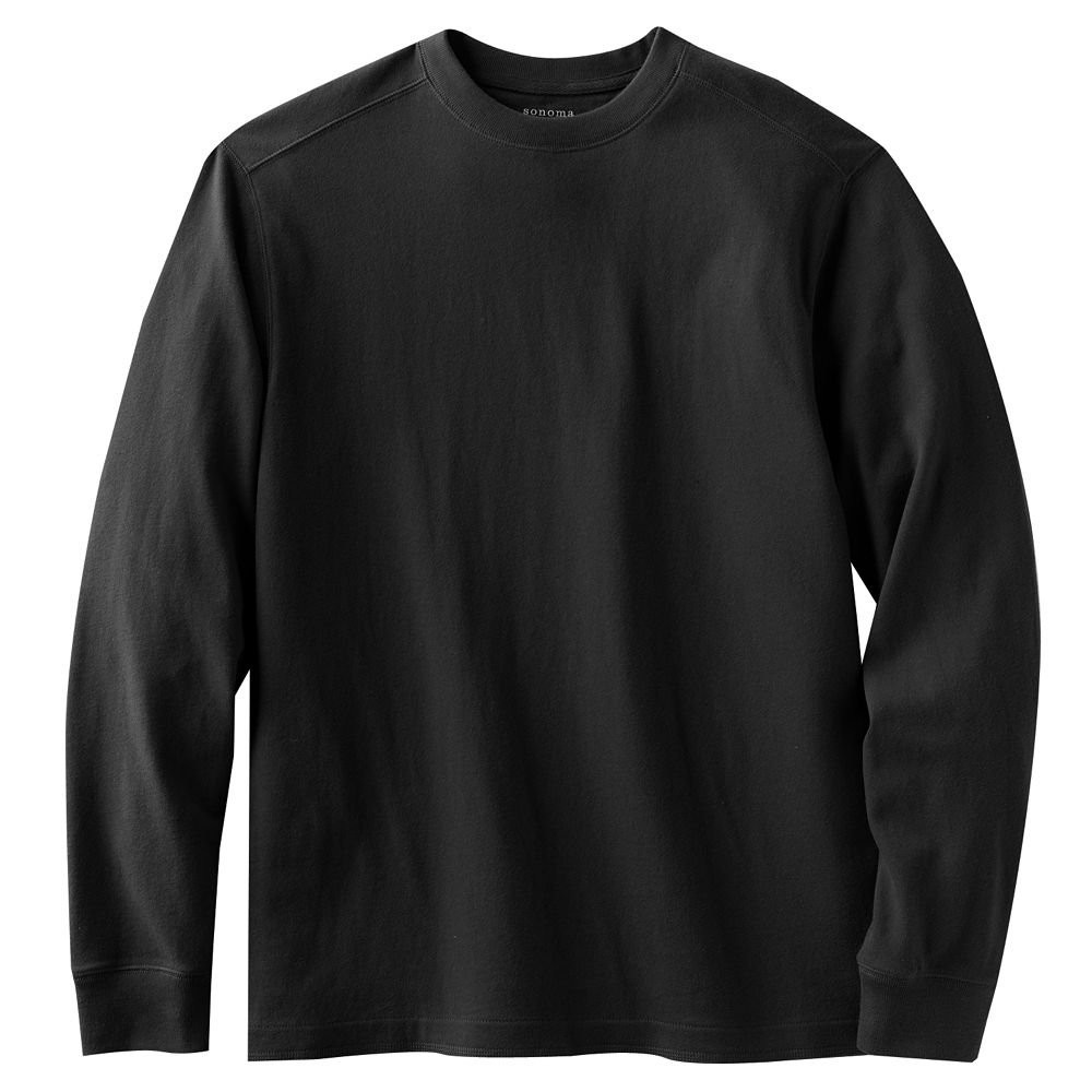Sonoma Solid Sueded Crewneck T-Shirt Tee Mens Size Small Teens Boys Black NEW