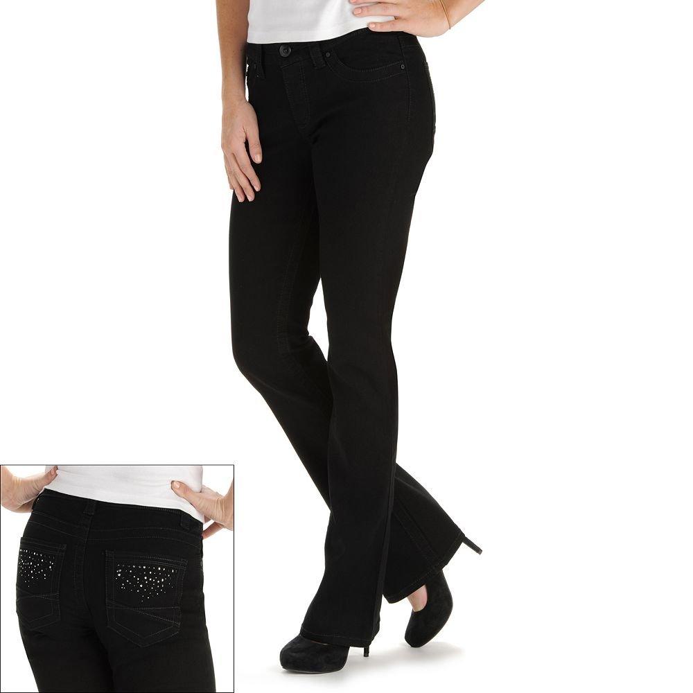 NEW Black Lee Elson Slender Secret Embellished Bootcut Jeans - Women's Size 4M