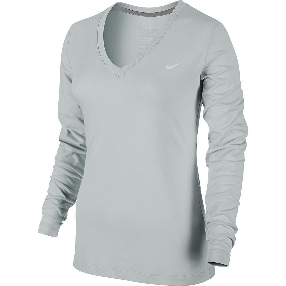 Nike Dri-Fit Performance Tee Long Sleeve Heather Gray Large L NEW $28