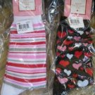 2 Pair Socks Valentines Black Hearts and Pink Red Stripes NEW