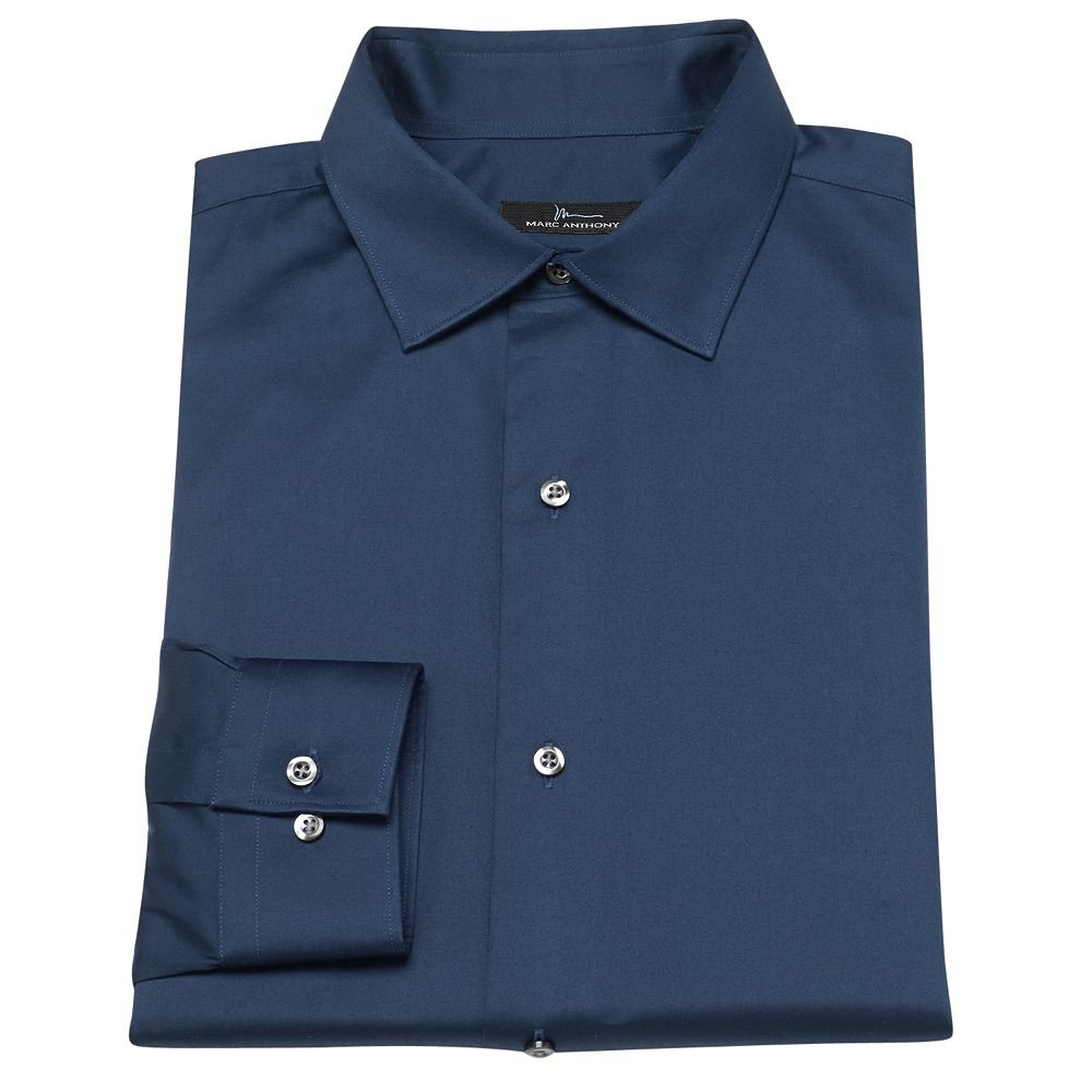 New marc anthony slim fit solid easy care spread collar for Tony collar dress shirt