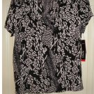 NEW Rafaella Petites Womens Large Petite or PL Printed Black Knit Top Shirt $43
