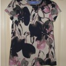 Vera Wang Floral Top Shirt Short Sleeves Blues Sz. Petite Extra Small XS NEW
