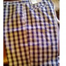 NEW Dockers Washed Khaki Short Golf 9.5 Inseam Navy Tan Plaid Flat Front Size 34