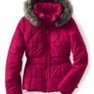 NEW Womens Puffer Jacket Coat Fur Hood Aeropostale Small Fuchsia Red Jrs $119.00