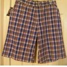 American Living Boys Teens Plaid Shorts Sz 18 Long Style Red Blue NEW