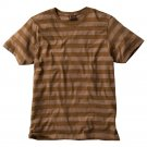 Aces & Eights Brown Striped T-Shirt Tee White Sz Small or S Young Mens NEW