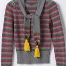 SO Juniors Sz. Medium Gray Stripe Sweater + Scarf Set 3/4 Sleeve NEW