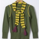 SO Juniors Sz. Large Green Stripe Sweater + Scarf Set 3/4 Sleeve NEW