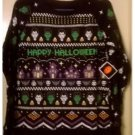 NEW Black Green Happy Halloween Ugly Juniors Long Sleeve Shirt Medium 7/9