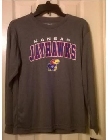 Boys Girls KU Jayhawks 100% Polyester Long Sleeve Gray Performance Tee NEW