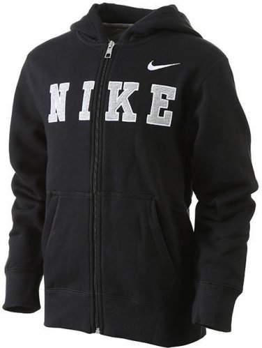 NEW Boys Small S Full Zip Front Logo Black Nike Classic Hoodie Style 611456 $55.00
