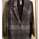 VINTAGE Oversized Lined Navy Blue Plaid Blazer 1 Button Sz Small