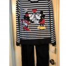 Womens Medium Disney Mickey Mouse & Minnie 2 Piece Pajama Set NEW