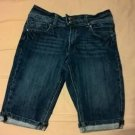 Seven 7 Dark Wash Cuffed Bermuda Jean Shorts Sz 16 Girls NWOT