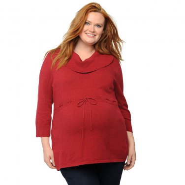 Womens Deep Red Plus Size 1X Maternity Cowlneck Tunic Sweater Oh Baby by Motherhood NEW