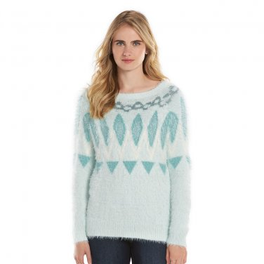 NEW Women's LC Lauren Conrad Fairisle Eyelash Boatneck Sweater Small