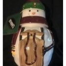 NOS Nonni's Biscotti Ceramic Snowman With Sleigh Cookie Jar Hand Painted 12 Inch