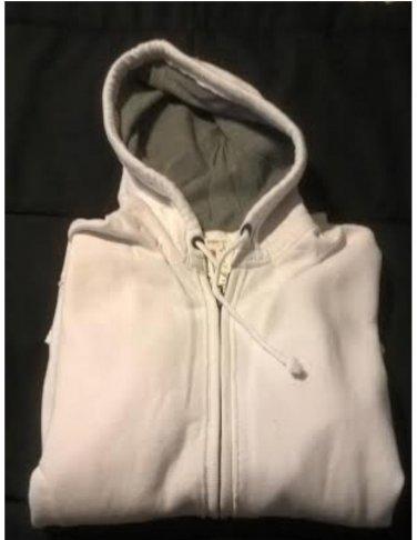Aeropostale Mens a87 Full-zip Hoodie in White Size Medium Raw Edge NEW # 3079
