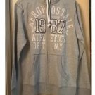 Aeropostale Mens 1987 Graphic Full-zip Hoodie in Gray Size Medium Raw Edge NEW # 3141