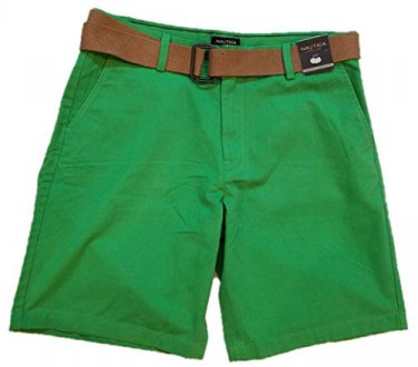 Nautica Men's Belted Flat Front Chino Shorts Summer Green + Bonus Belt 34 NEW