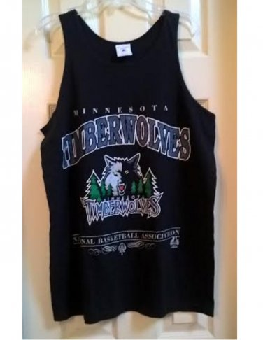 Pre-Owned Vintage Minnesota Timberwolves Graphic Tank Top Black Medium Preshrunk