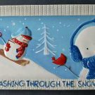 St Nicholas Square Let it Snow Hand Painted 13 In Rectangular Serving Platter NEW