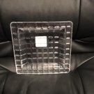 New Textured Clear Glass Candle Plate or Serving Plate Square Brick 8 Inch
