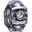 NEW PUGSTER Rhinestone Studded Roulette Style European Bead $27 Silver