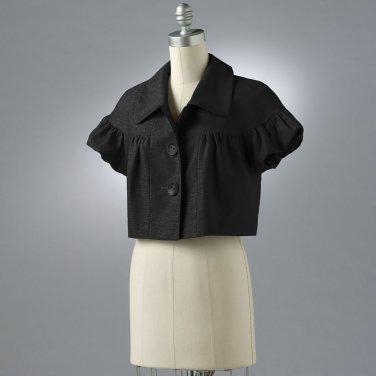 Womens Medium Black Crop Jacket Axcess Short Sleeves NEW