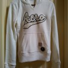 Aeropostale White Pop-Over Notched Neck Hoodie Hooded Jacket Pockets Juniors Medium NEW